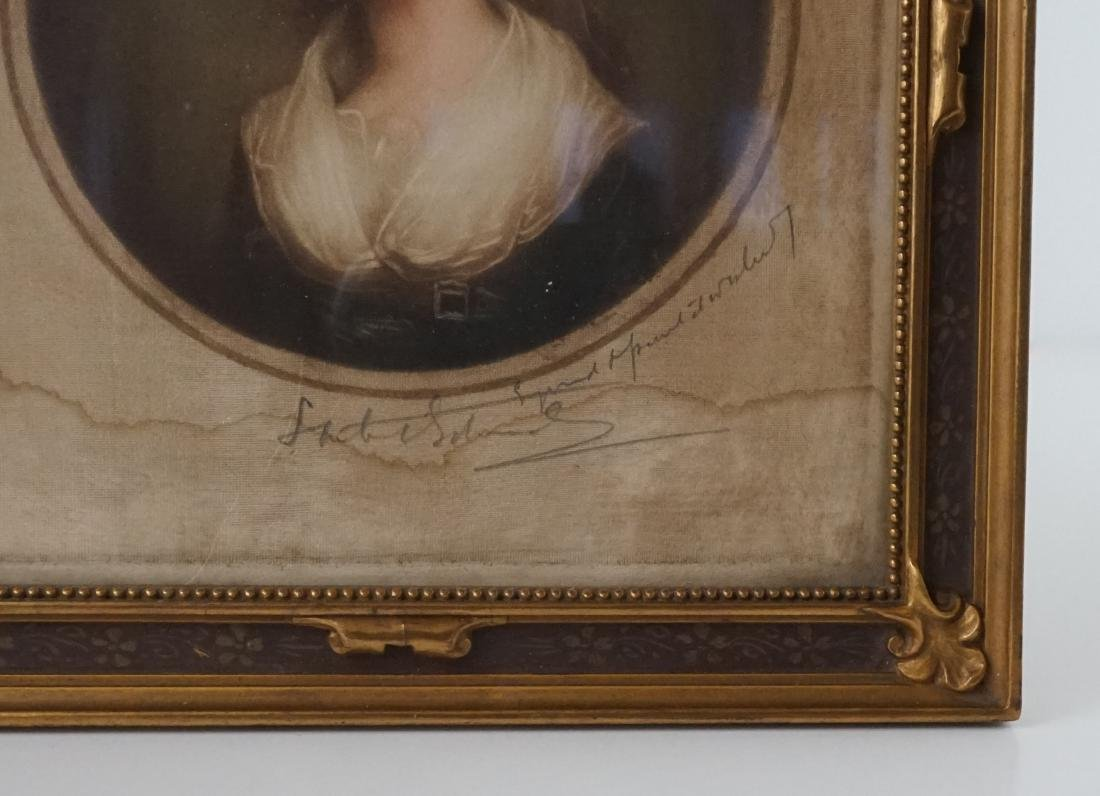 An Antique Signed Engraving on Silk - 2
