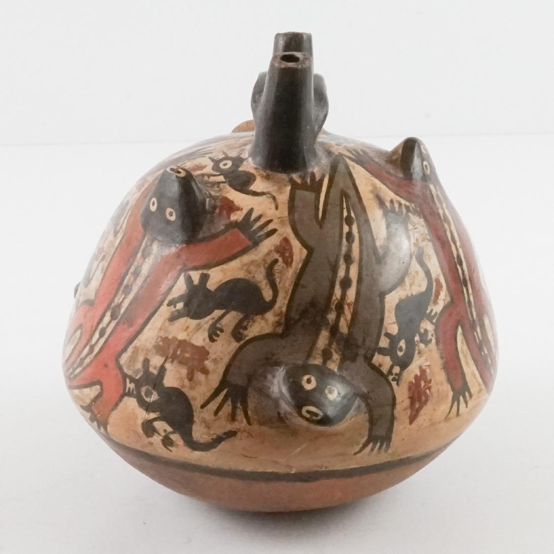 Nazca Pottery Stirrup Jar w/Raised Design - 2