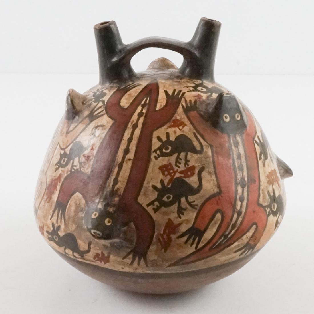 Nazca Pottery Stirrup Jar w/Raised Design - 3