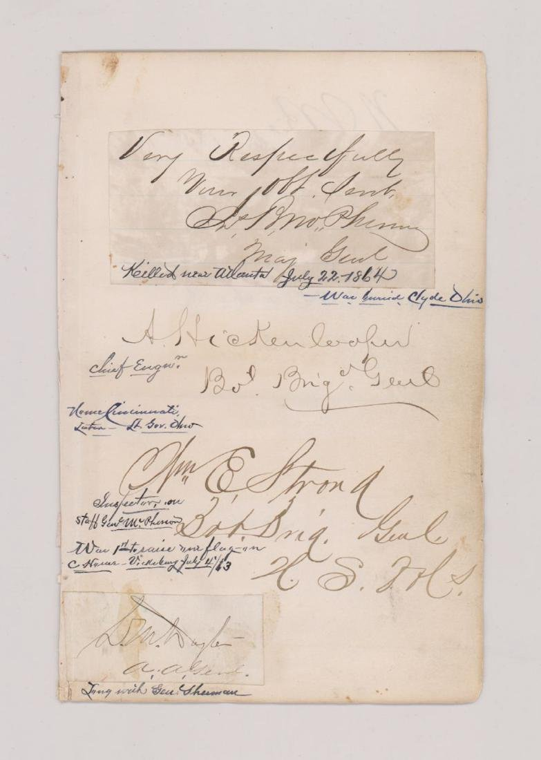 Multi-Signed Autograph Album Page Civil War
