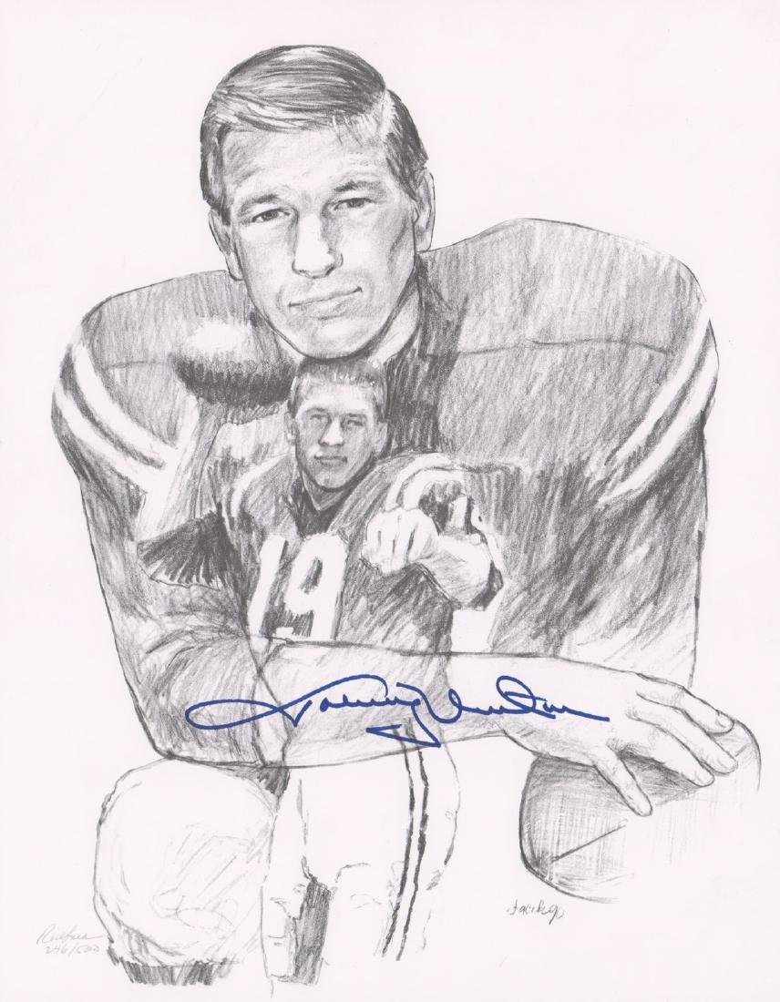 Johnny Unitas Signed Lithograph PSA/DNA