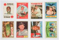 Eight Vintage Baseball Cards Mantle Aaron