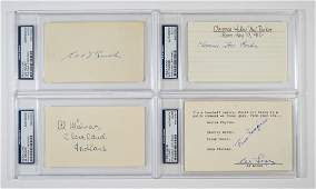 Four Autographed Index Cards Baseball Greats