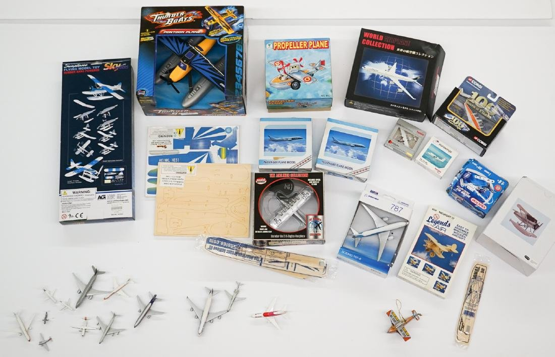 A Group of Airplane Models and Model Kits