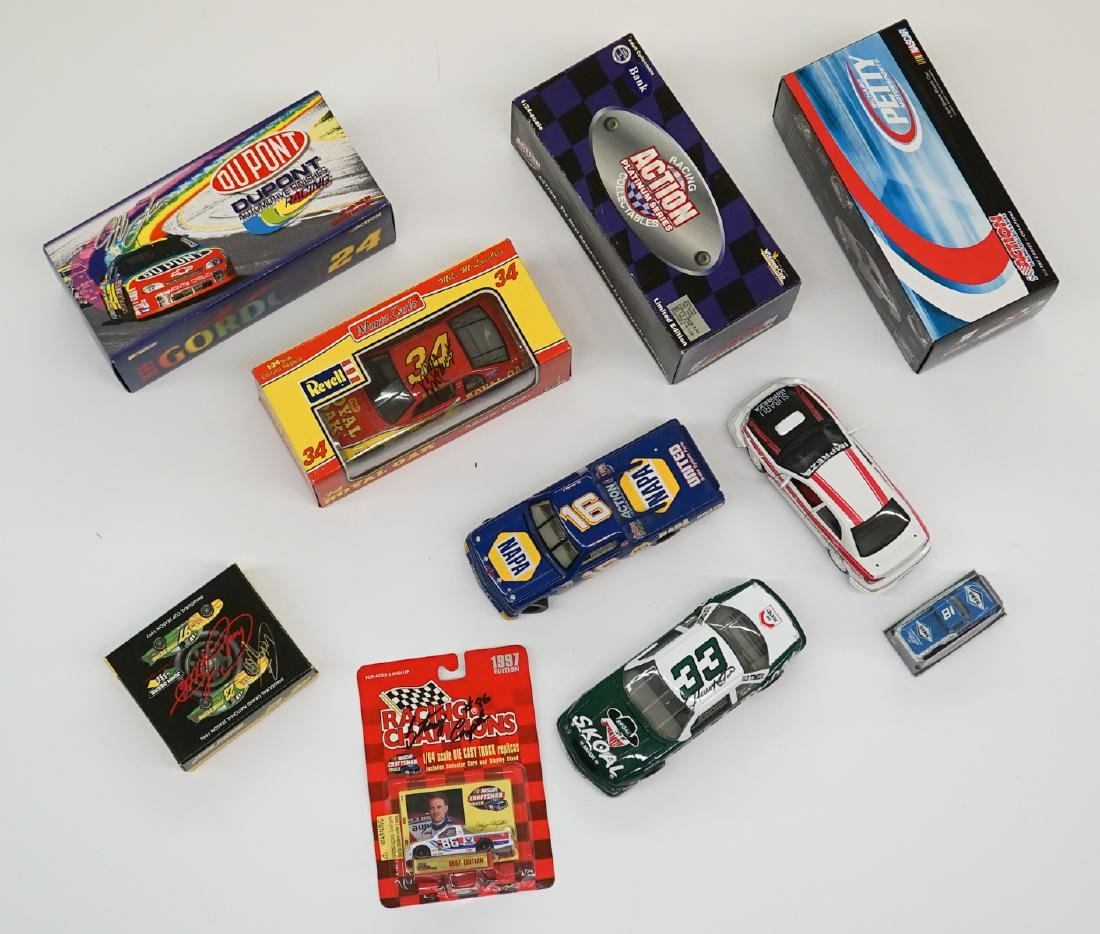 Ten Auto Racing Scale Model Cars, Some Signed