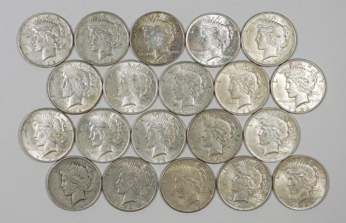 Group of [20] Peace U.S. Silver Dollars 1921-1935