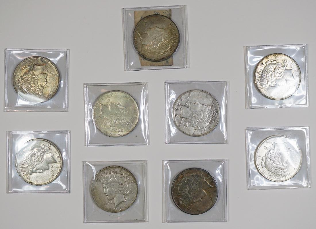 Group of [9] Peace U.S. Silver Dollars