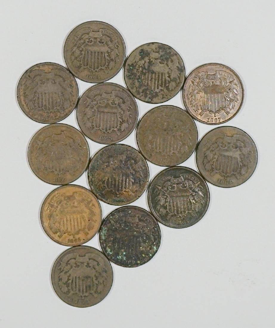 Group of [13] Two-Cent Pieces 1864-1873