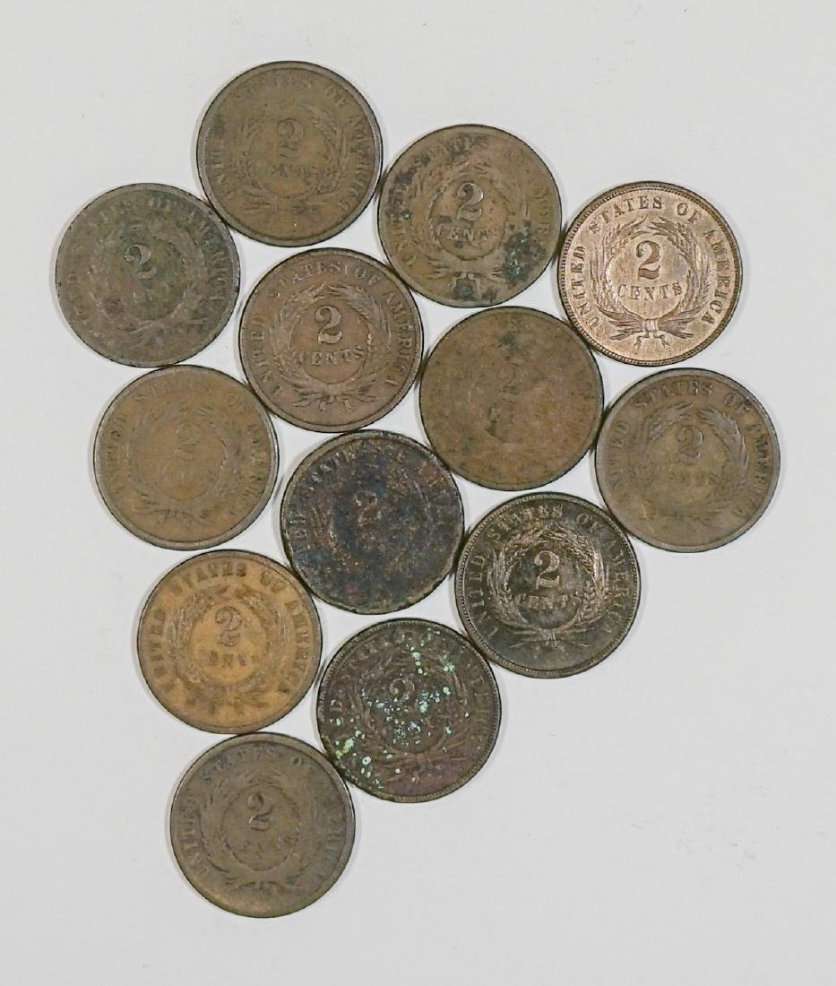 Group of [13] Two-Cent Pieces 1864-1873 - 2
