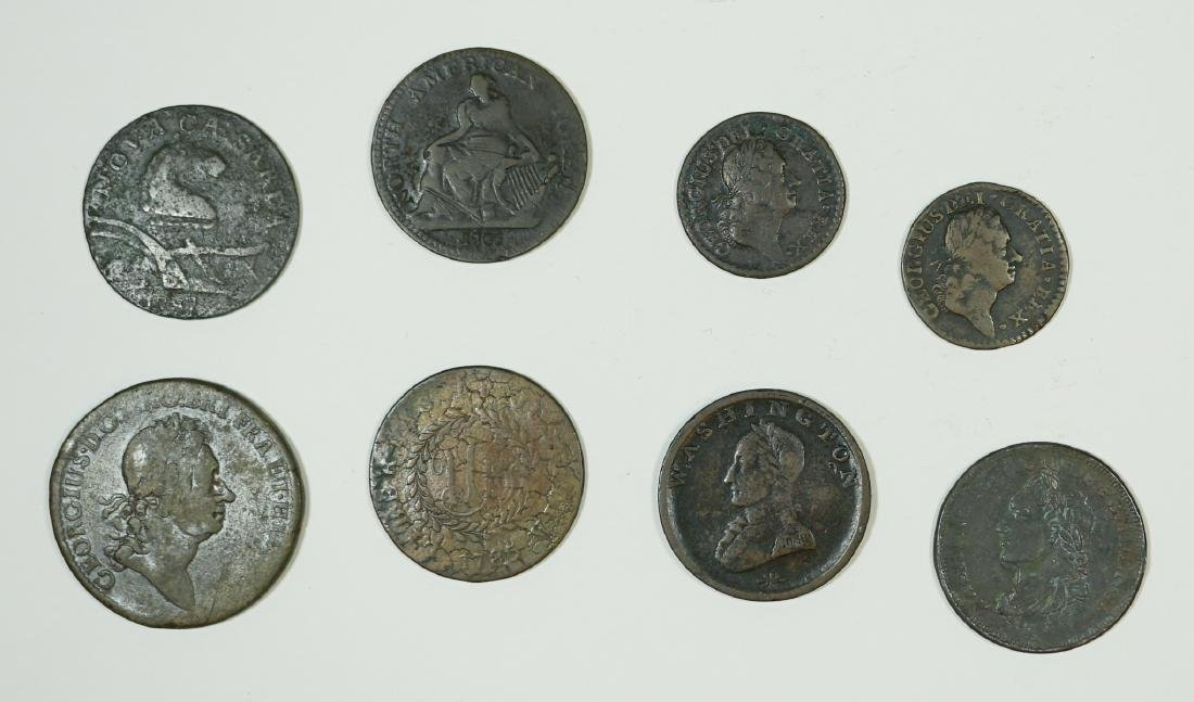 Eight 18th Century Copper Coins, Most U.S.