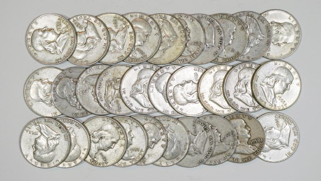 Group of [30] Franklin Silver Half Dollars