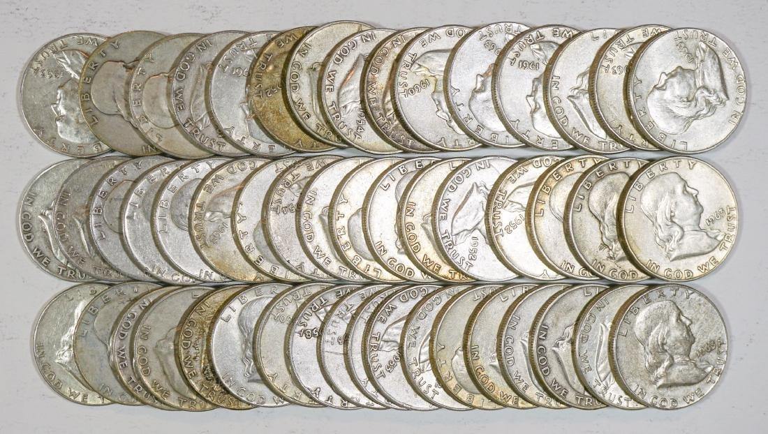 Group of [50] Franklin Silver Half Dollars