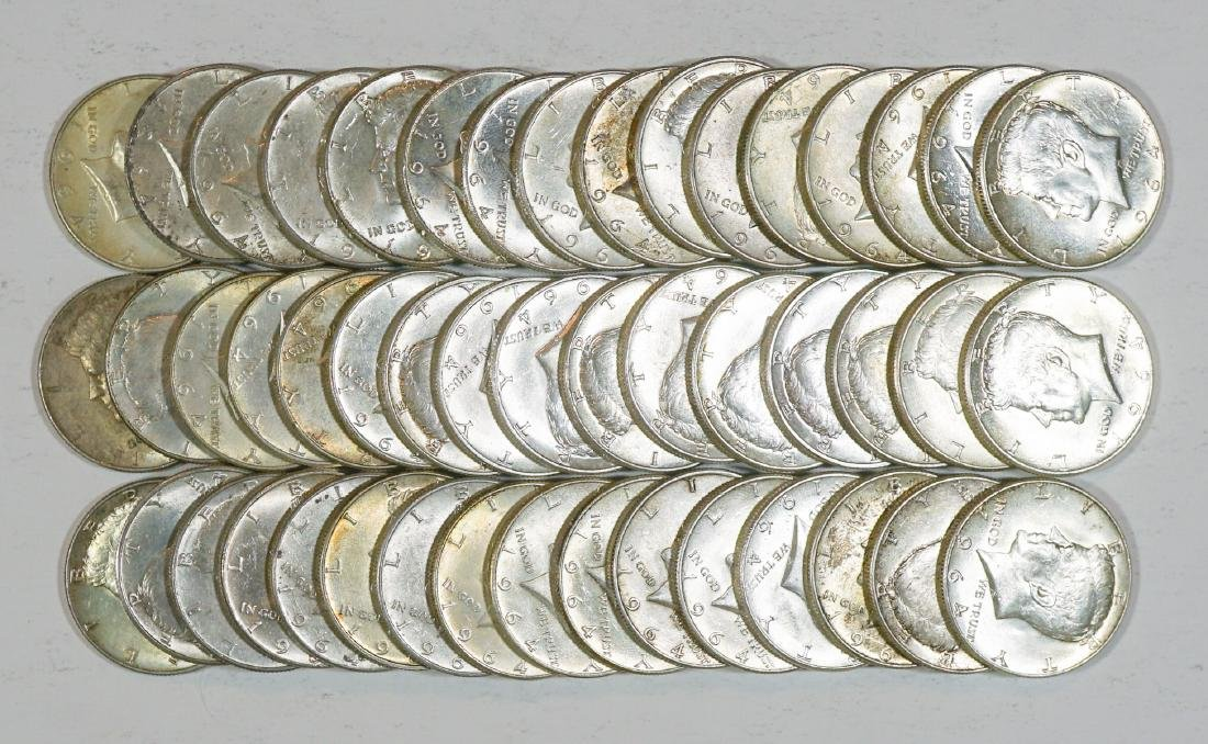 Group of [48] 1964 Kennedy Half Dollars