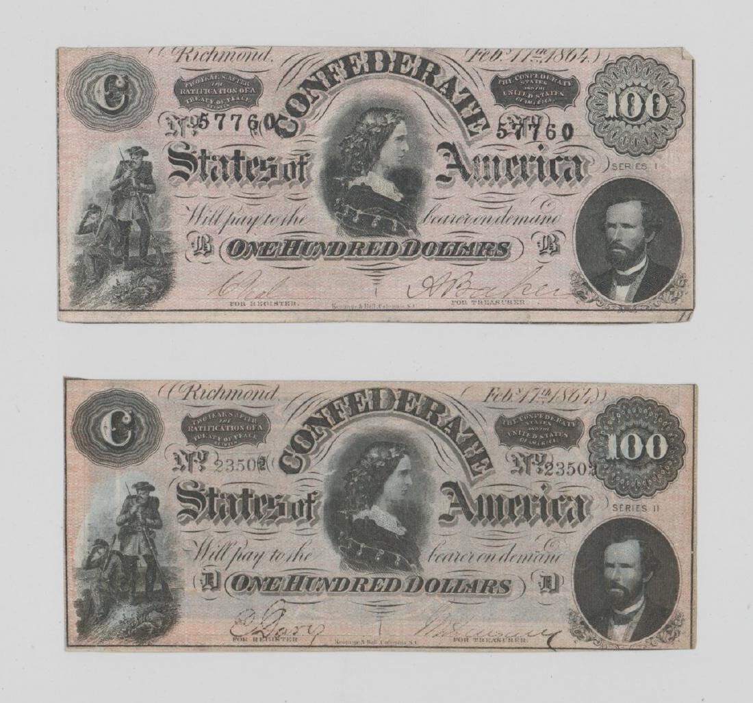 Two 1864 Confederate States of America $100 Bills