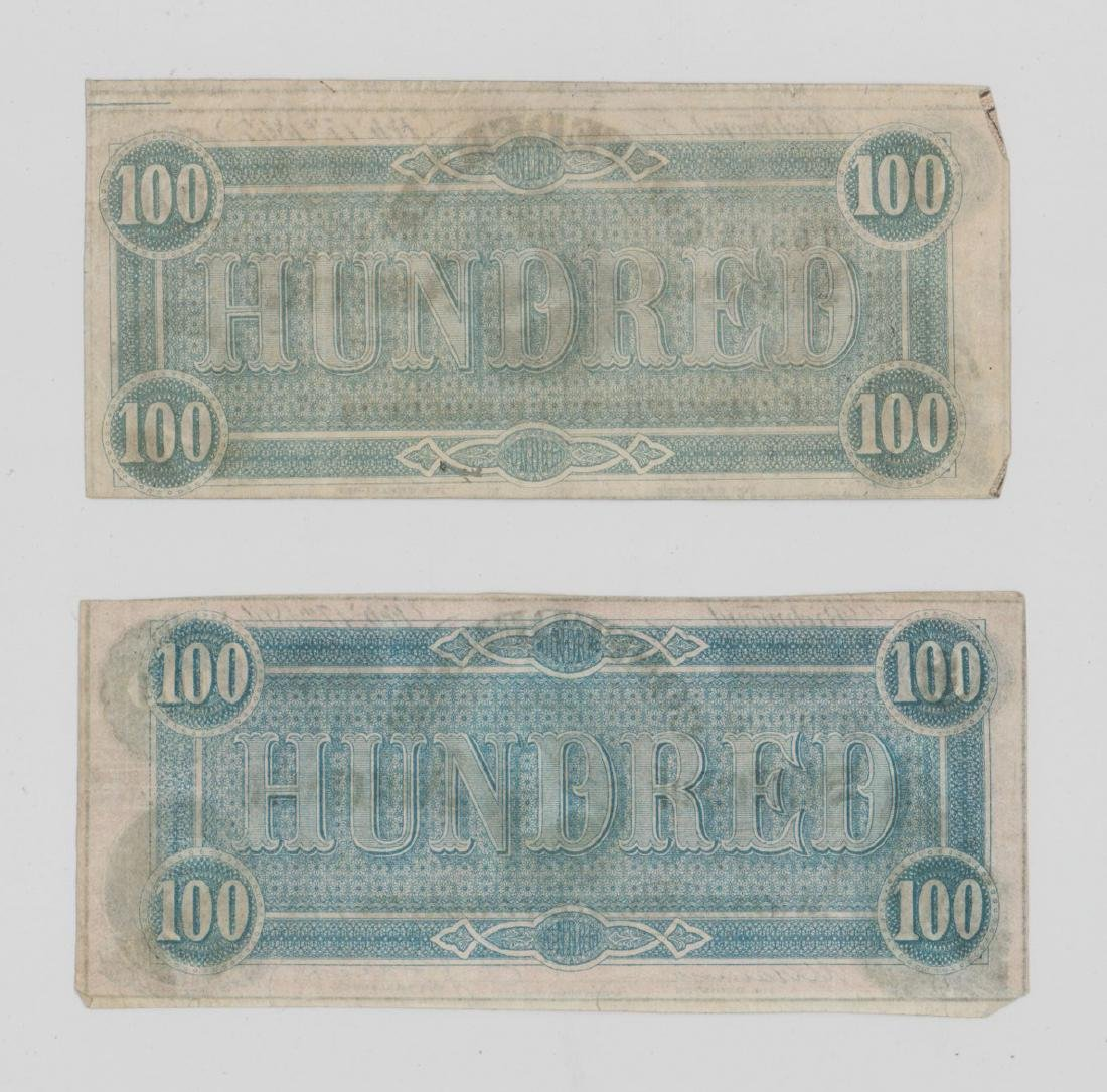 Two 1864 Confederate States of America $100 Bills - 2