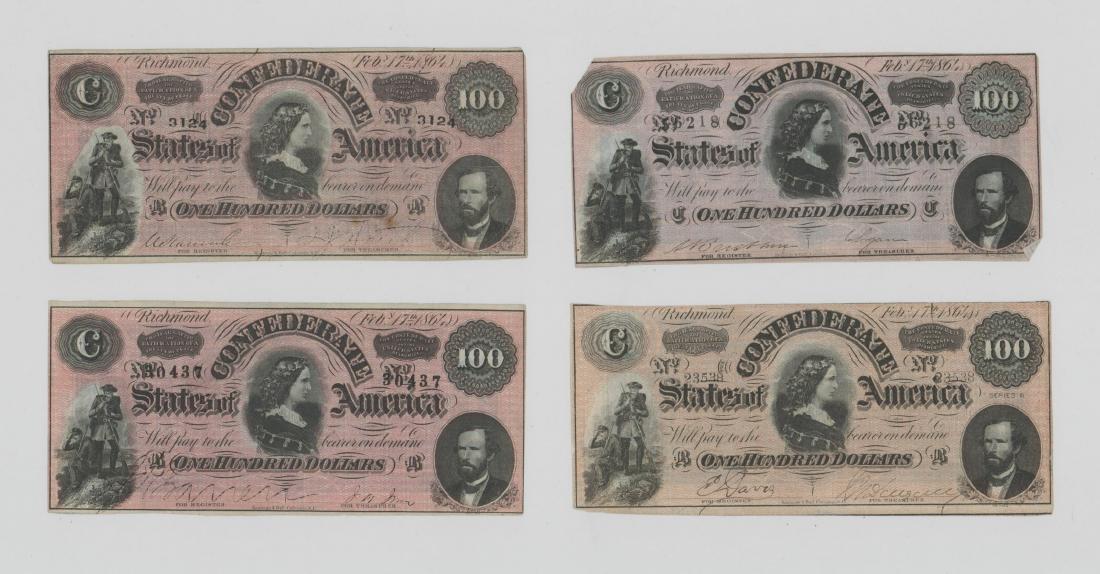 Four 1864 Confederate States of America $100 Bills