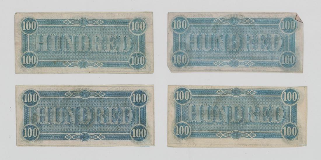 Four 1864 Confederate States of America $100 Bills - 2