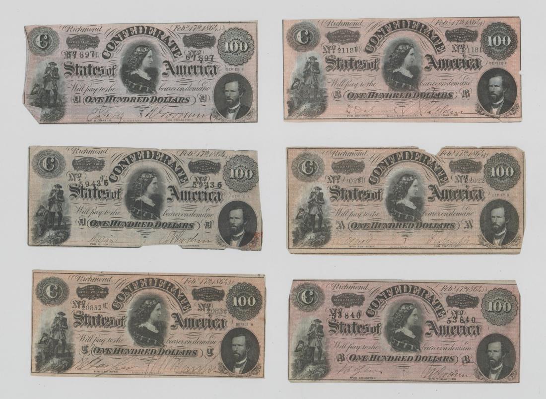 Six 1864 Confederate States of America $100 Bills