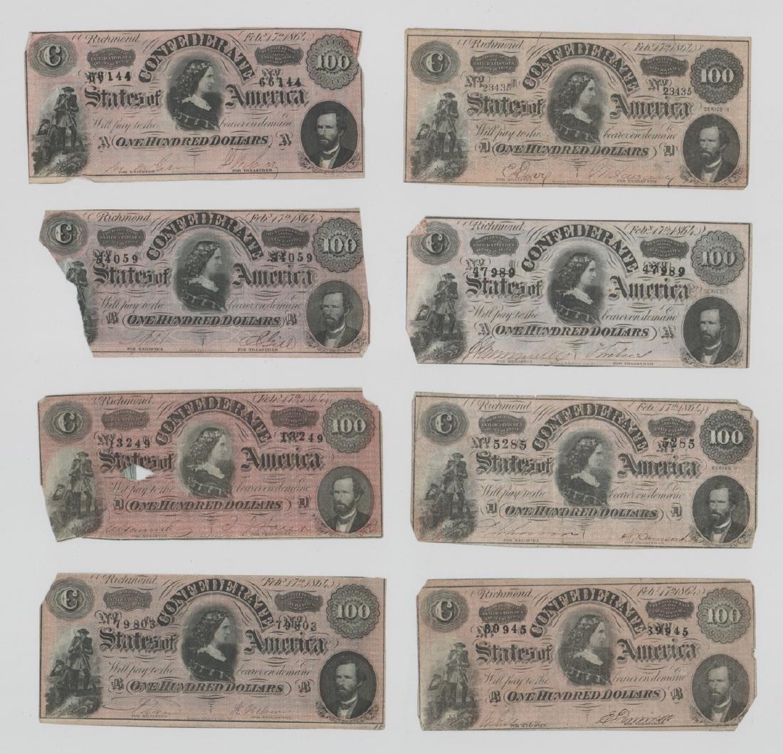 Eight 1864 Confederate States America $100 Bills