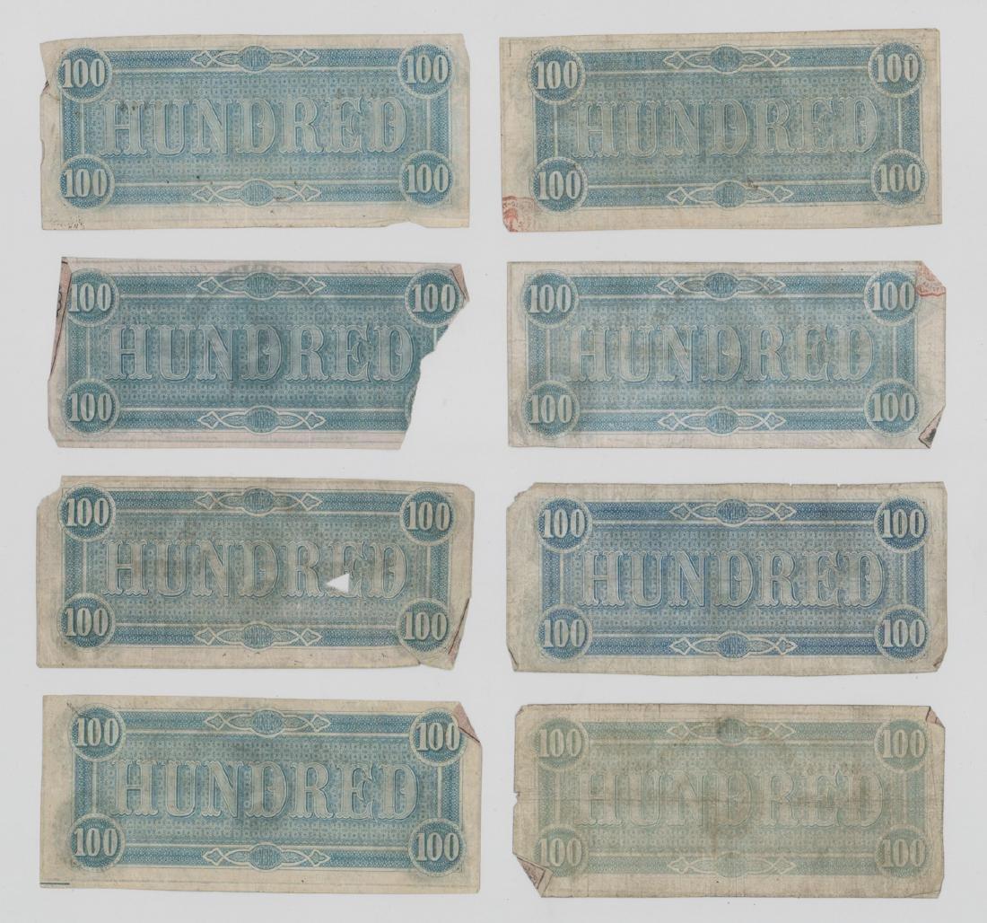 Eight 1864 Confederate States America $100 Bills - 2