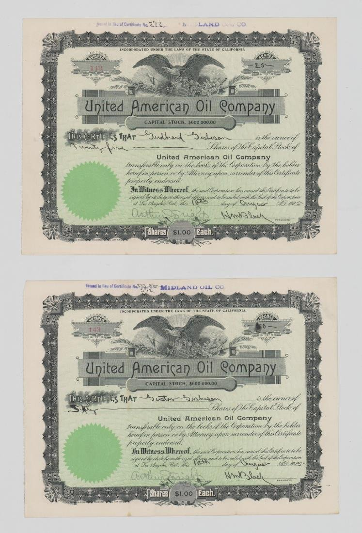 Two United American Oil Company Stock Certificates
