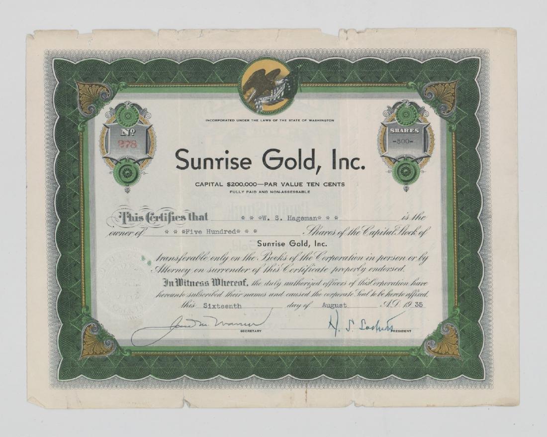 Sunrise Gold, Inc Stock Certificate (Washington)