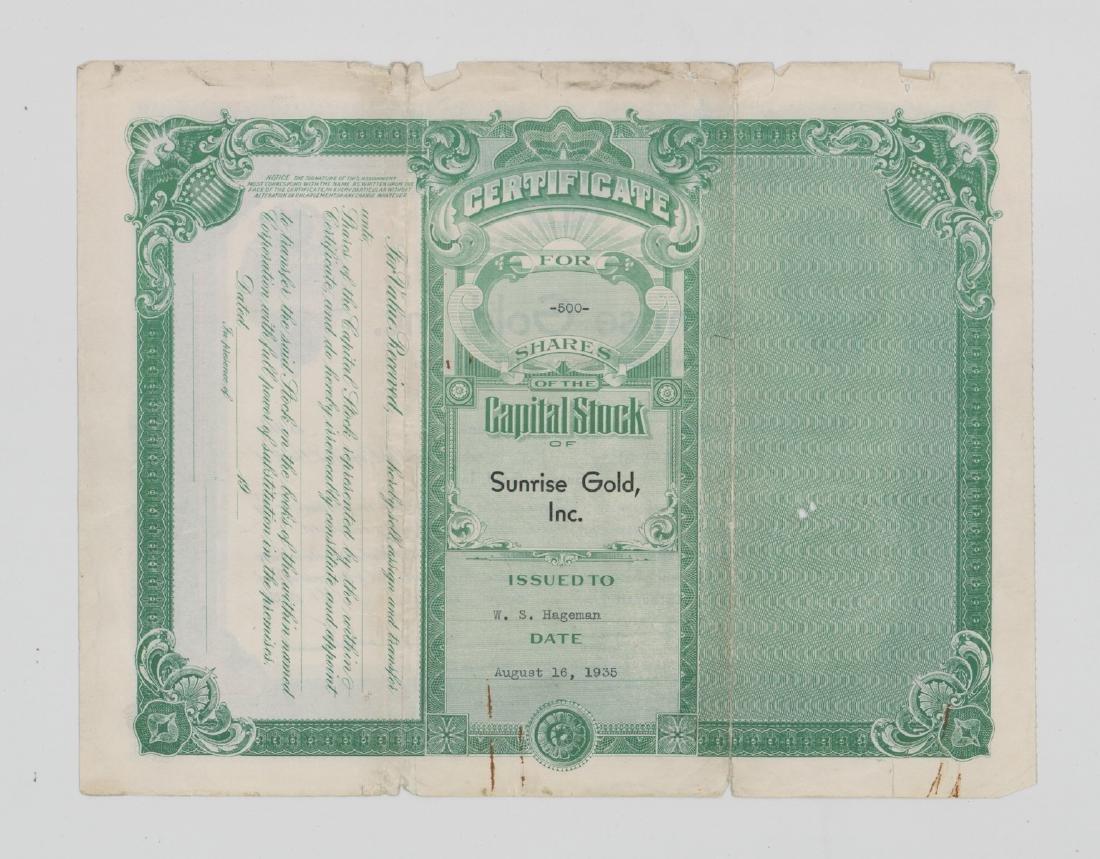 Sunrise Gold, Inc Stock Certificate (Washington) - 2