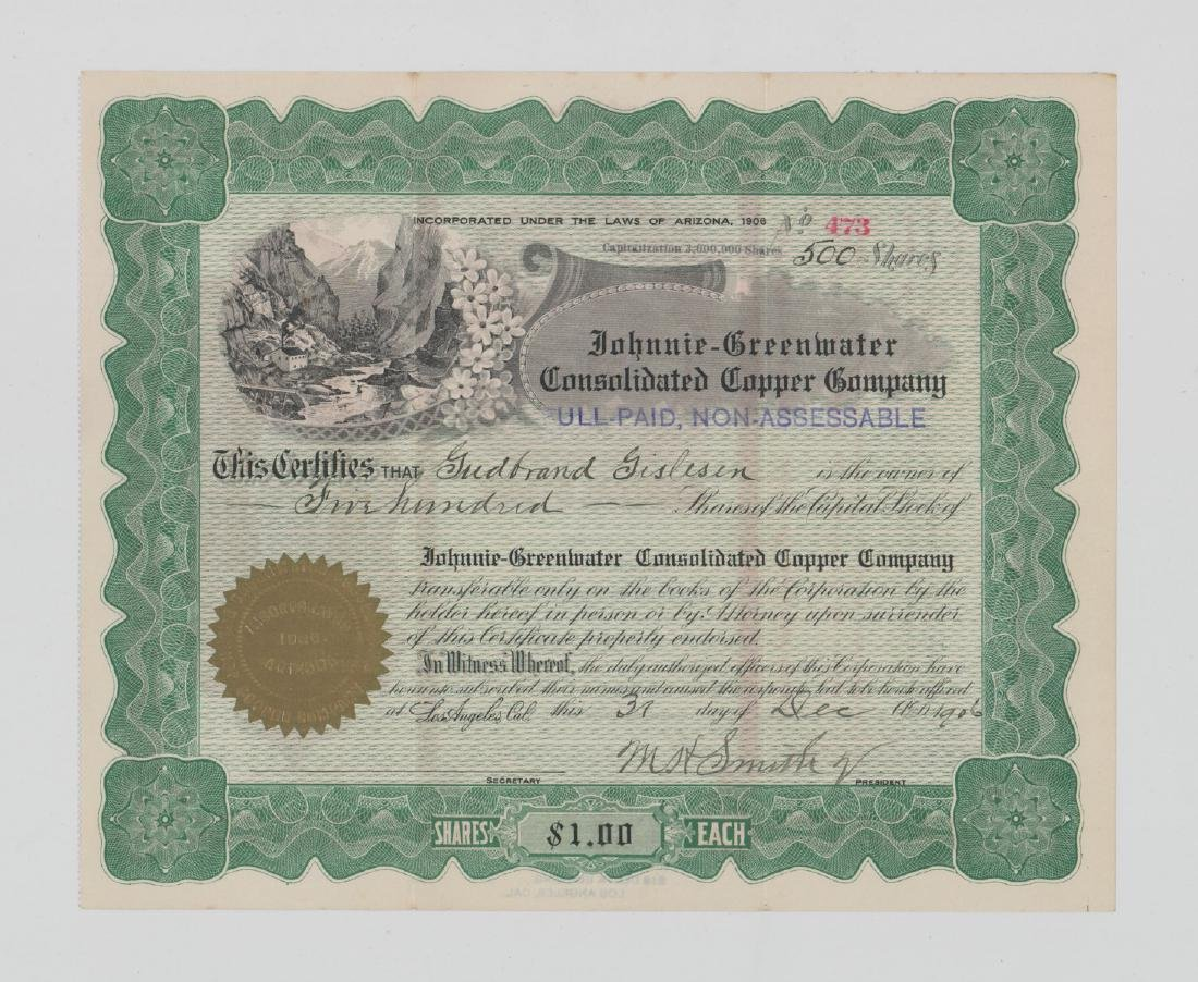 Johnnie-Greenwater Copper Co. Stock Certificate