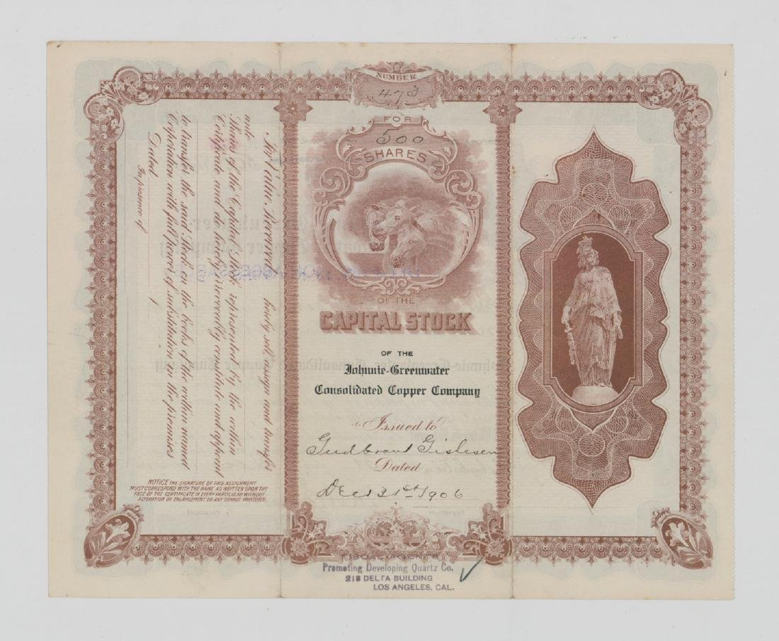 Johnnie-Greenwater Copper Co. Stock Certificate - 2