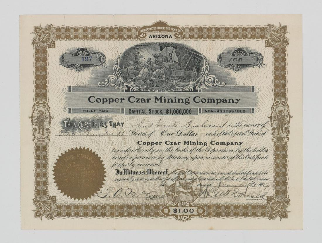Copper Czar Mining Co. Stock Certificate (Arizona)