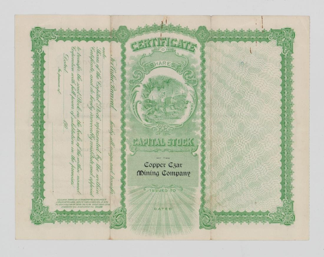 Copper Czar Mining Co. Stock Certificate (Arizona) - 2