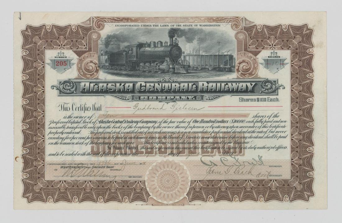 Alaska Central Railway Co. Stock Certificate 1908