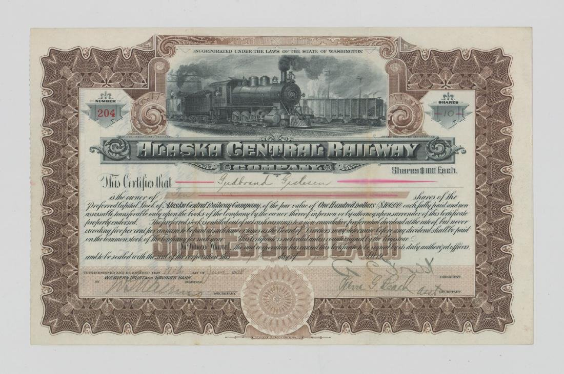 Alaska Central Railway Co. Stock Certificate 1908