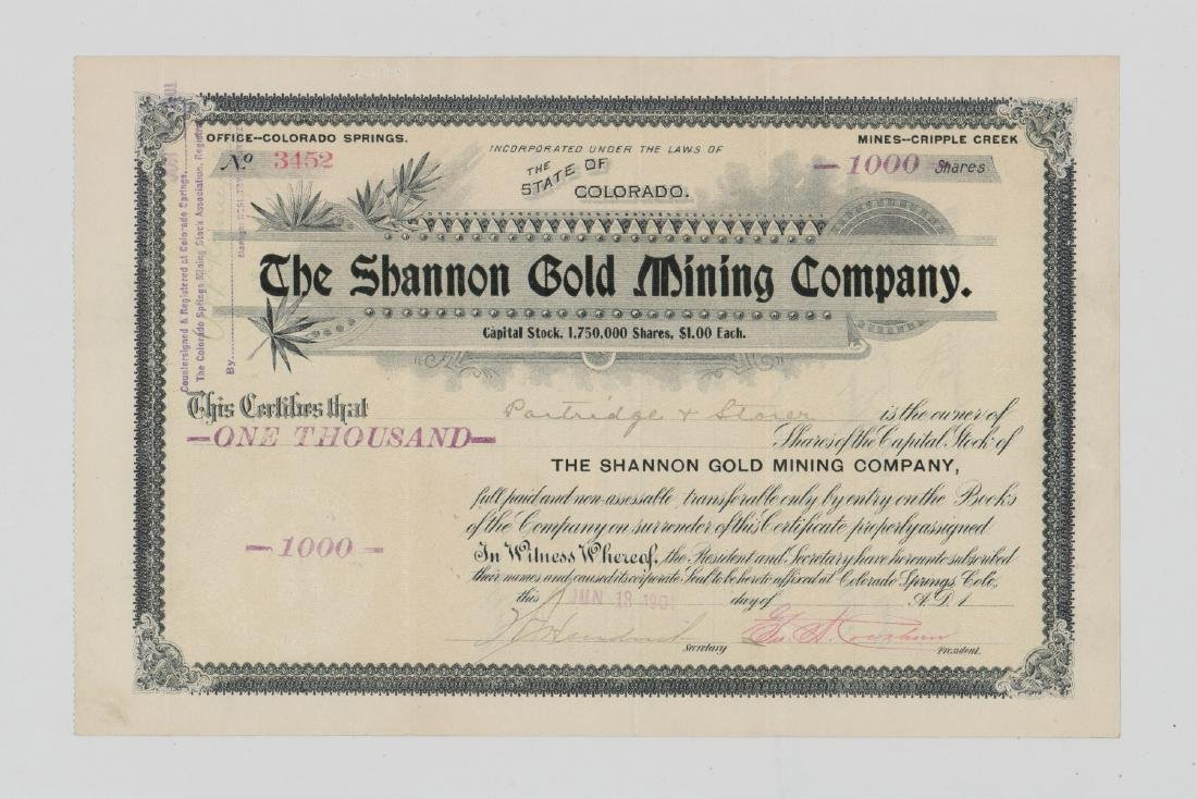 Shannon Gold Mining Company Stock Certificate