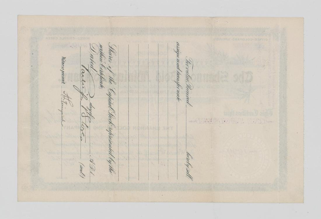 Shannon Gold Mining Company Stock Certificate - 2
