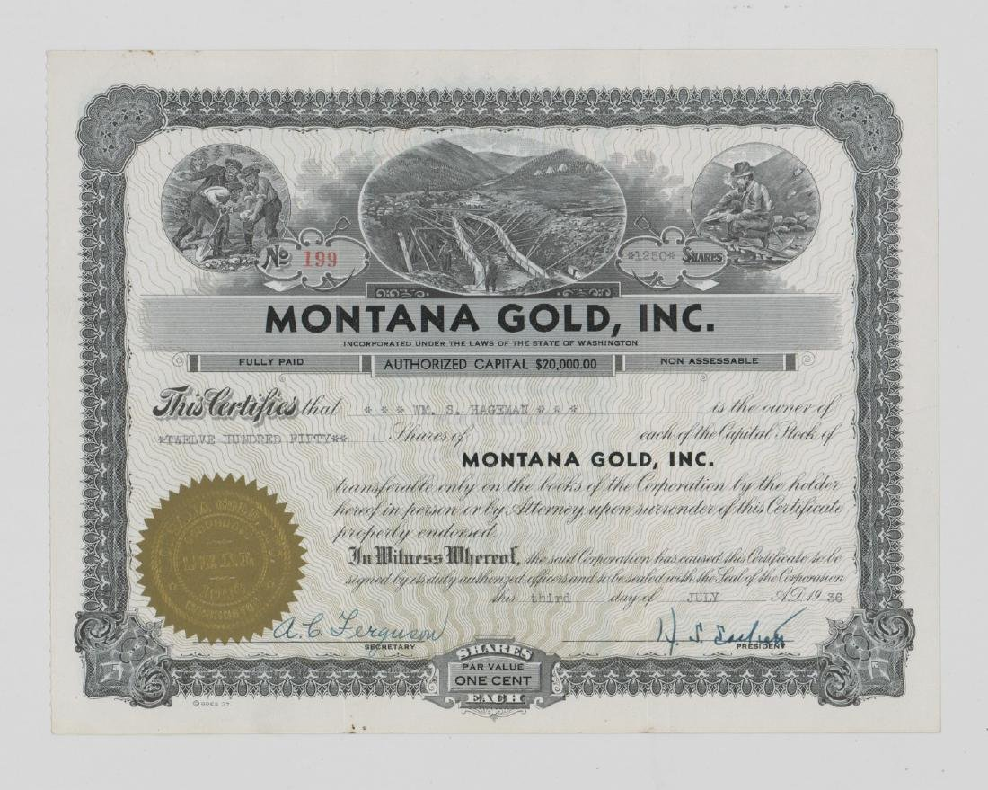Montana Gold, Inc. Stock Certificate (Washington)