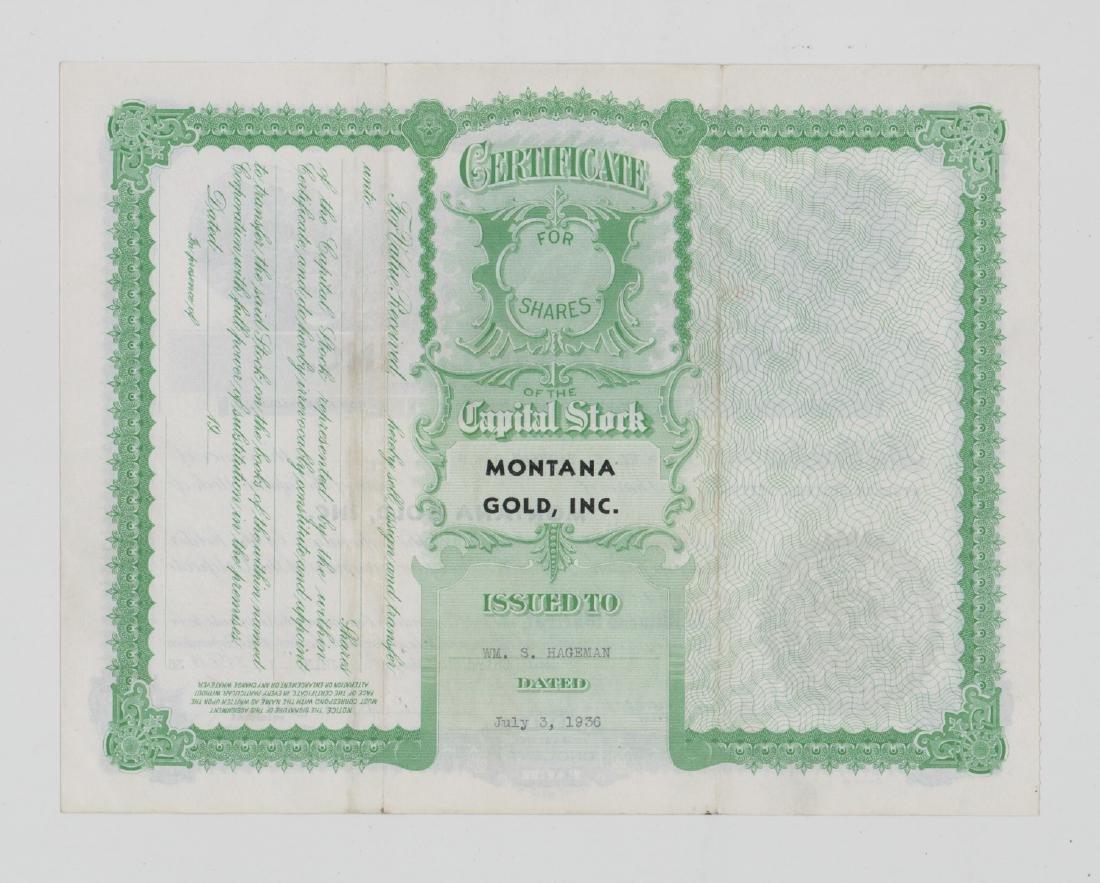 Montana Gold, Inc. Stock Certificate (Washington) - 2
