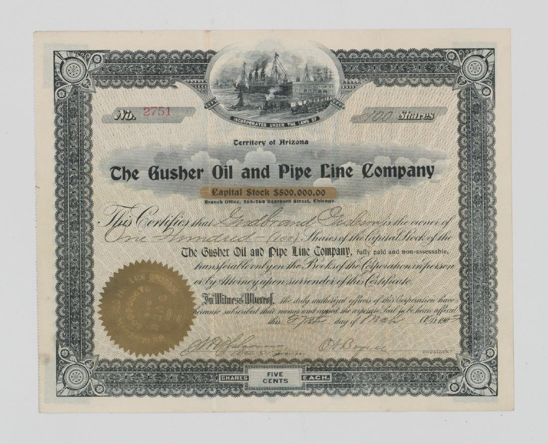 The Gusher Oil and Pipe Line Co. Stock Certificate