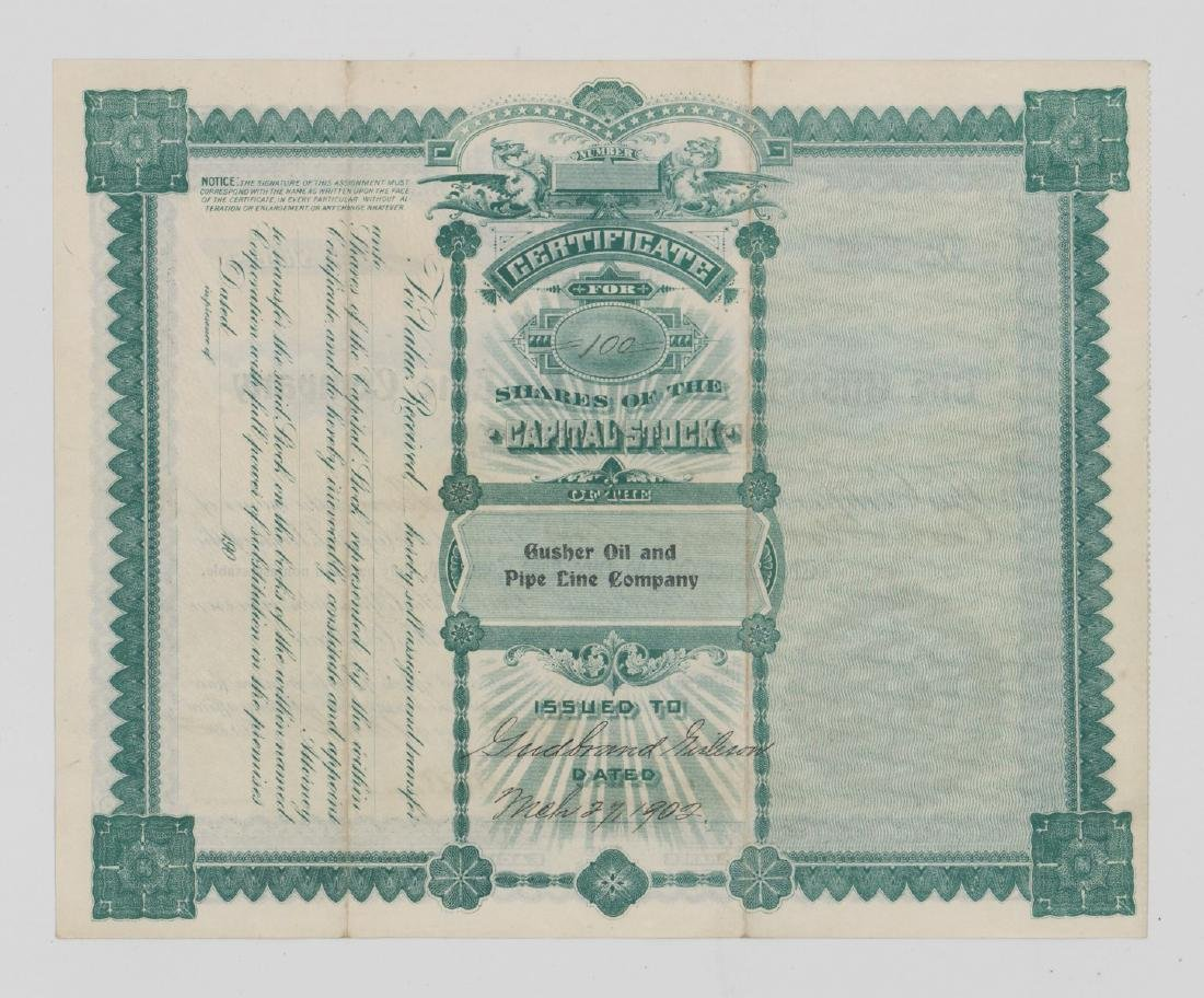 The Gusher Oil and Pipe Line Co. Stock Certificate - 2