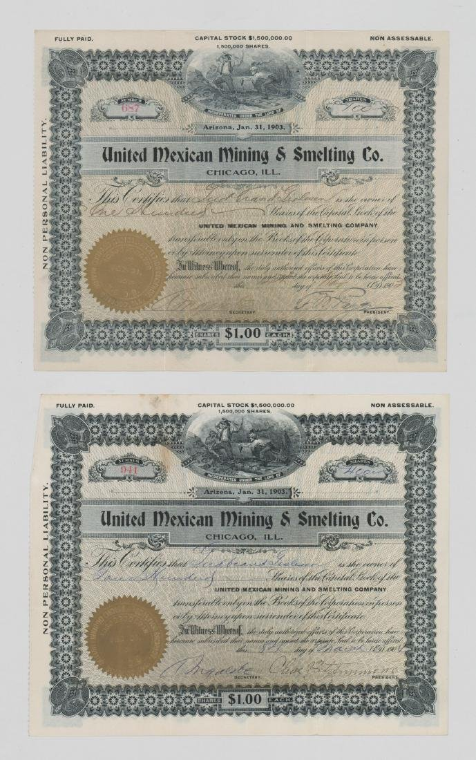Two United Mexican Mining & Smelting Stock Certs