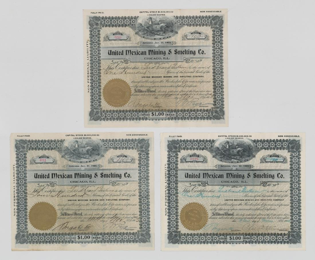 Three United Mexican Mining & Smelting Stock Certs