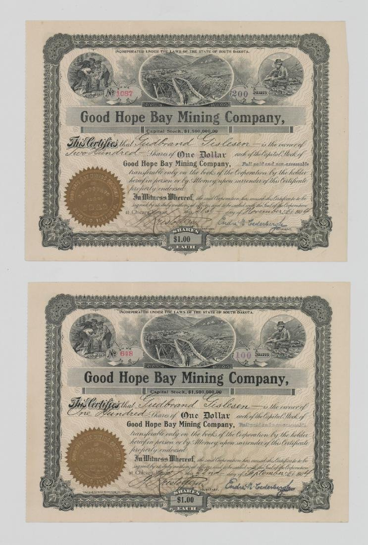 Two Good Hope Bay Mining Company Stock Certs