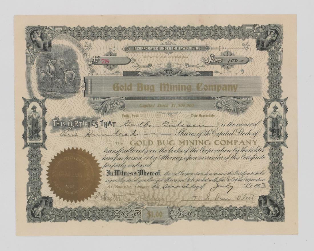 Gold Bug Mining Company (Oregon) Stock Certificate