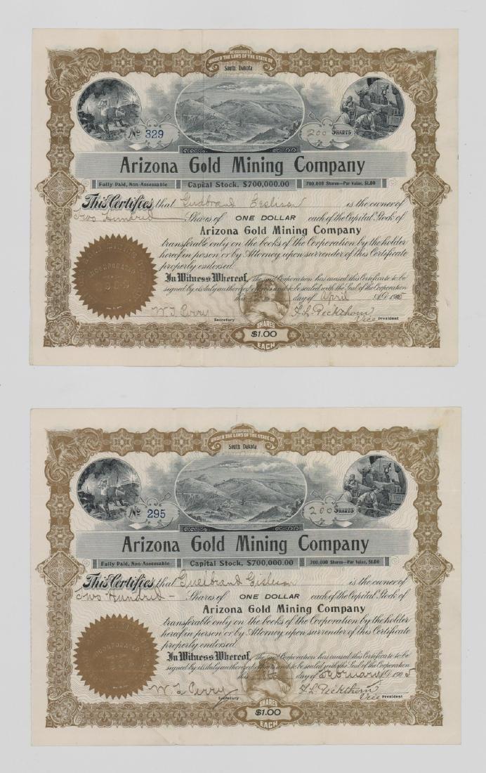 Arizona Gold Mining Company Stock Certificates