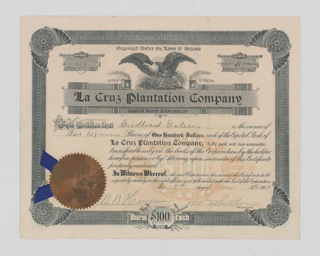 La Cruz Plantation Company Stock Certificate