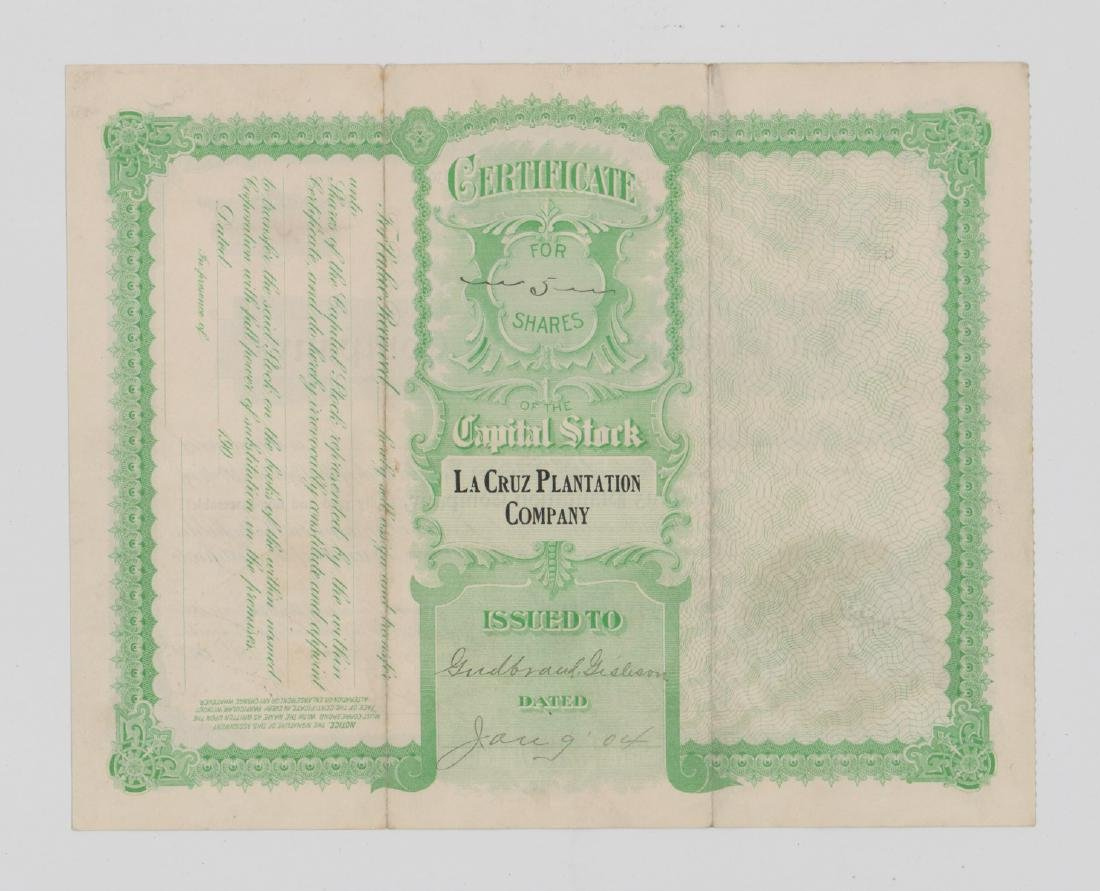 La Cruz Plantation Company Stock Certificate - 2