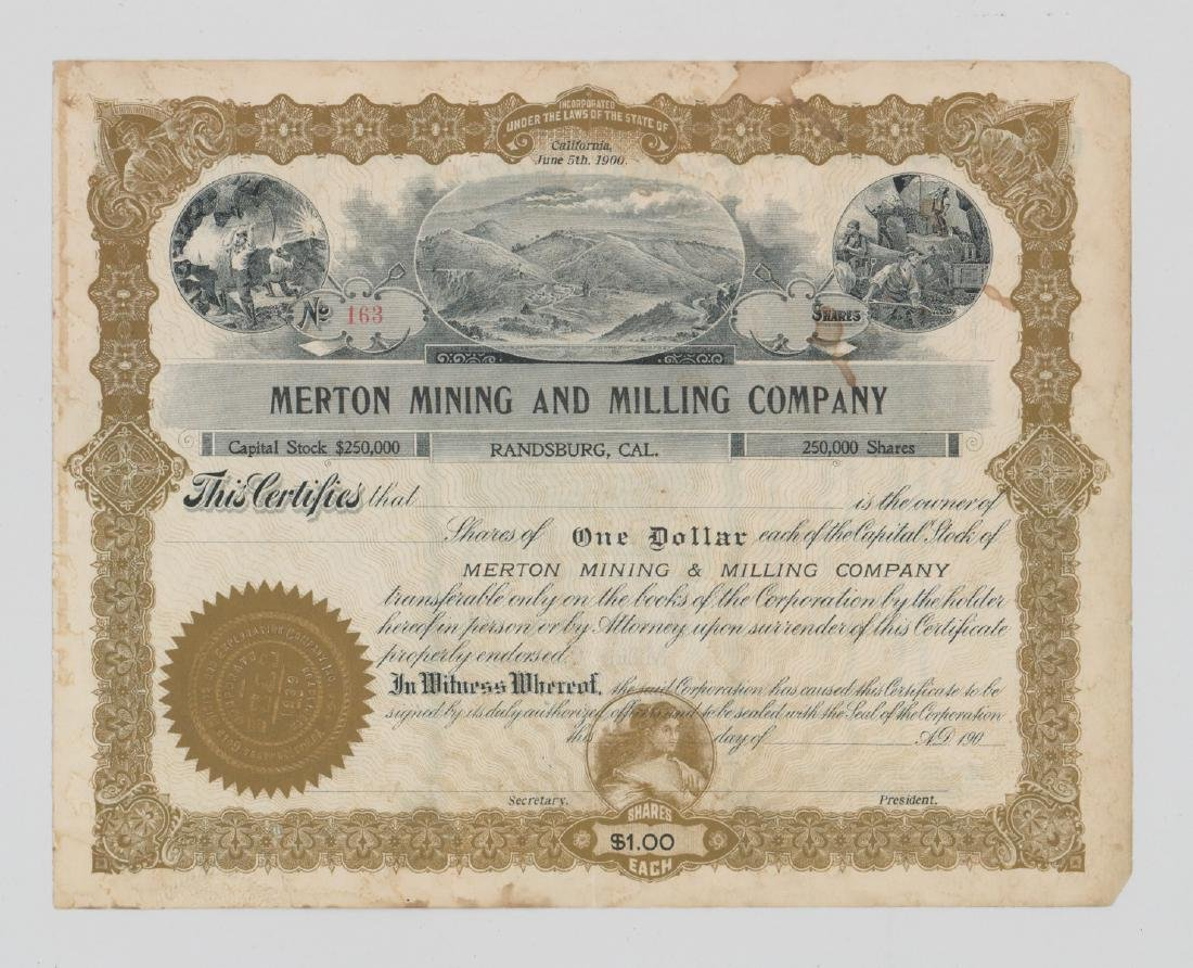 Merton Mining And Milling Stock Certificate