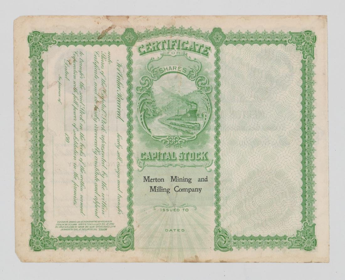 Merton Mining And Milling Stock Certificate - 2