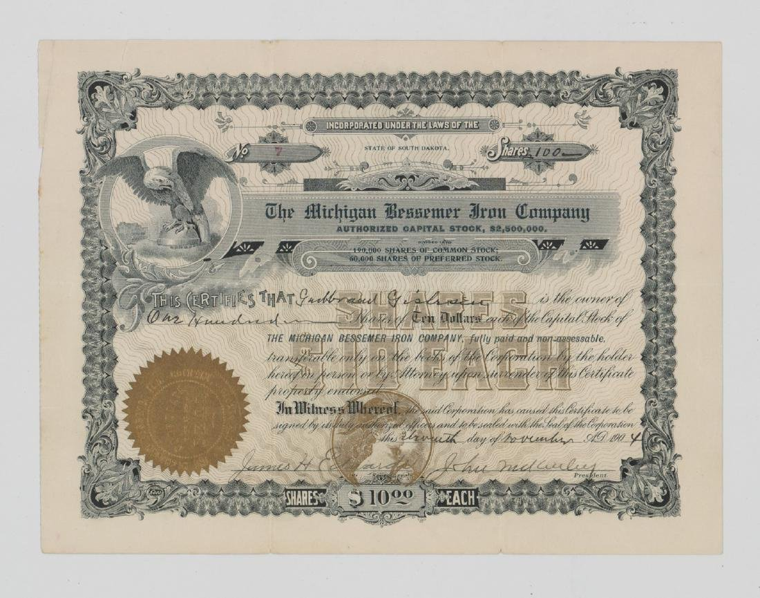 Michigan Bessemer Iron Company Stock Certificate