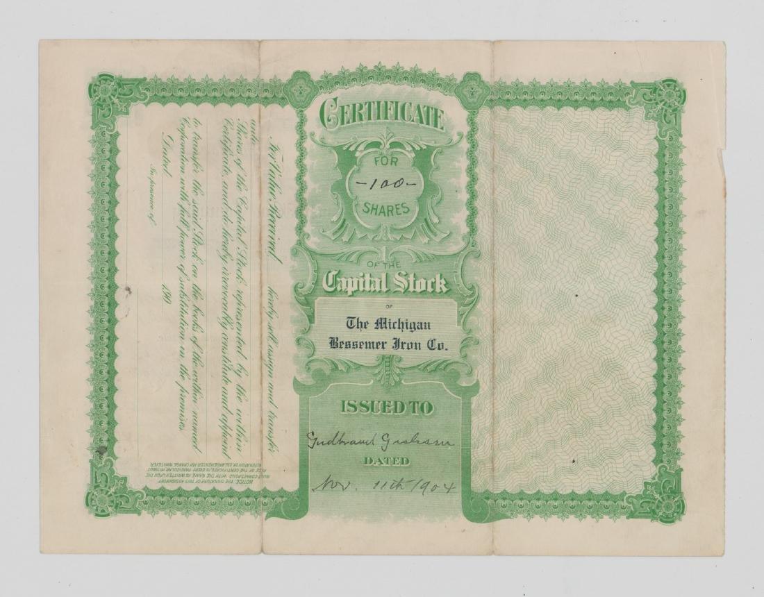 Michigan Bessemer Iron Company Stock Certificate - 2